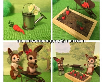 Rabbits Garden Play Set / Felted / Miniatures