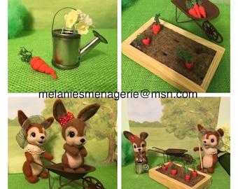 Kaninchen-Garten spielen Set / gefilzt / Miniaturen
