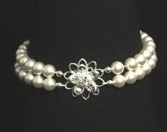 Pearl Cuff Bridal Bracelet, Swarovski Crystal Wedding Jewelry, Wedding Bracelet -- ROMANTIC GARDENS