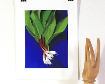 Giclee print of wild ramps from original oil painting. Kitchen art. Local food from farmer's market. Royal blue, green and magenta.