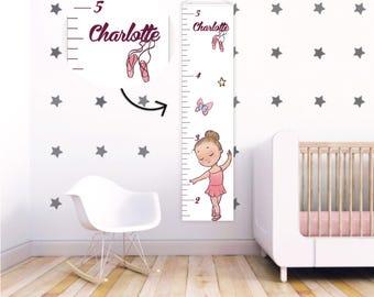 Ballerina nursery Canvas Growth Chart Kids Ruler Height Chart Ballerina  Growth Chart Baby girl nursery decor Growth chart canvas