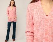 70s Cardigan Boho Sweater Space Dye Hippie Sweater Orange Pink 1970s Button Up dyed Seventies Acrylic Knit Retro Vtg Medium