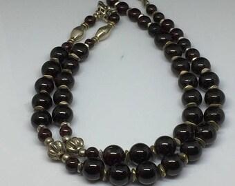 Vintage Garnet and Sterling Strand Necklace