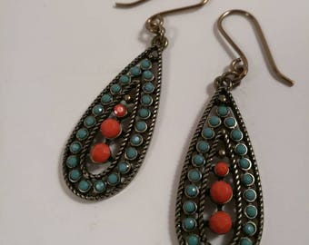 Red and Blue Turquoise Earrings by Southern Ear Candy