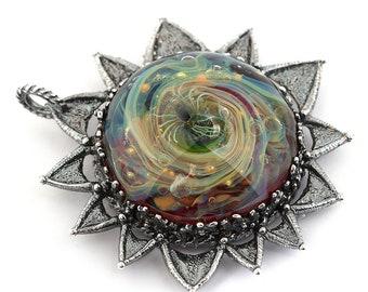 Celestial sun moon pendant - Celestial jewelry glass cabochon- Moon jewelry - Lampwork sun moon pendant - Silver celestial pendant Lampwork