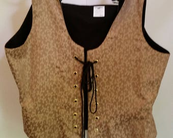 Brocade Renaissance Bodice: Tan and Beige Vine Pattern-3 Sizes
