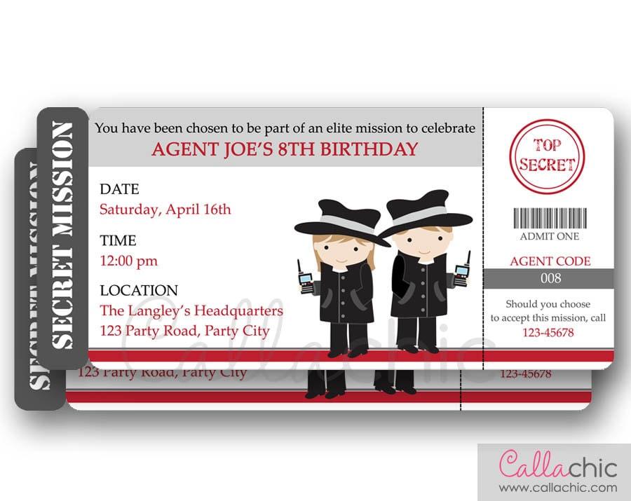 Secret Agent Invitation PRINTABLE Spy Detective Secret