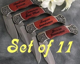 Groomsman Gifts/SET OF ELEVEN Engraved Rosewood Pocket Knives/Best Man Gift/Father of the Bride Gift/Father of the Groom Gift/Fathers Day