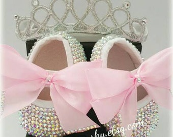 MOTHERCARE BABY Flats, embellished with Swarovski crystals, baptism christening, wedding birthday parties, Bling sparkle Fancy Shoes.