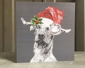 Christmas Card (Single)- Hungarian Vizsla with Christmas Hat and Holly