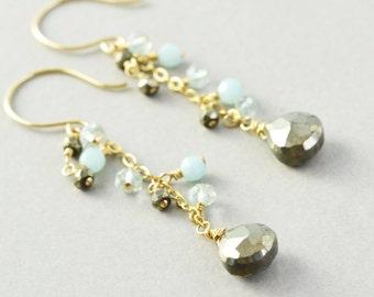 Pyrite Dangle Earrings, Amazonite Earrings, Mint Brown Drop Earrings