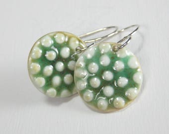 Ceramic Earring Green and White Porcelain dots Earrings With Sterling Silver Earwires  FREE DOMESTIC SHIPPING