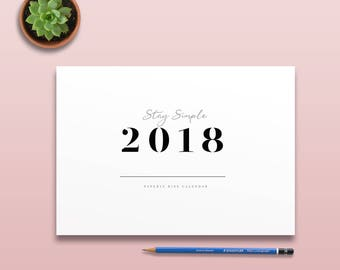 2018 Stencil Calendar, Minimal Printable Wall Calendar, 2018 Minimal Monthly Planner Page, Printable Simple Monthly Calendar, Wall Decor