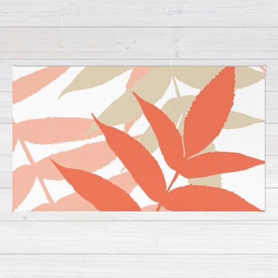Botanical Area Rug Fern Rug Coral Peach Tan Area Rug