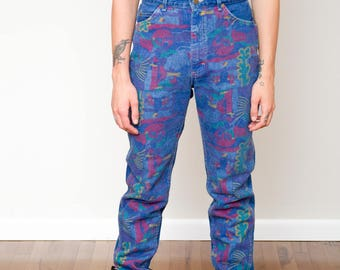 1980s Abstract Print Lee Denim Jeans - Dark Wash - Colorful - Skater • M