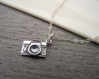 Tiny Camera Charm Photographer Sterling Silver Necklace / Gift for Her