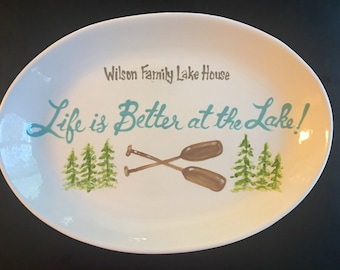 EXTRA Large Personalized Lake House Family Platter - Handpainted 16 Inch Oval Family Platter - Personalized - Great Gift