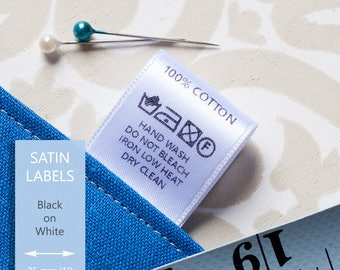 200 pcs Soft White Satin Printed Care Labels - Custom Sew On Labels