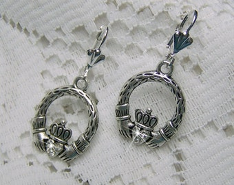 Celtic Claddagh Earring, Irish Claddagh Earrings, Silver Plated, Rhinestone Crystals, Irish Lever back Earrings, Ireland, St. Patrick's Day