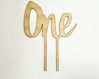 Word Number One Cake Topper for first / 1st birthday. Wooden / MDF Cake topper Laser cut.