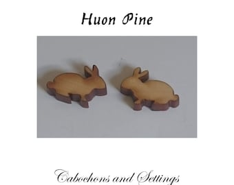 Rabbit Cabochons Lazer Cut from Huon Pine  Natural Specialty Woods For Earrings etc  Number Choice  Made in AUSTRALIA