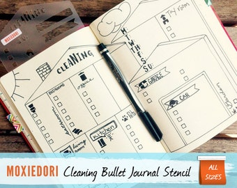 """House Cleaning Stencil - Bullet Point Journal Stencil, fits TN, Leuchtturm and Moleskine 4"""" by 7"""""""