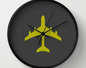 Airplane Wall clock - Chartreuse and Charcoal Wall Clock - Original Design - Home decor by Adidit