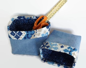 bathroom storage, desk accessories, basket storage, fabric bin, fabric baskets, sewing basket, desk organizer, housewarming gift