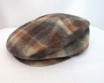 Vintage PENDLETON Wool Flannel Newsboy Cap ~ size S ~ Shadow Plaid ~ size 7