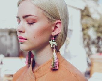Rainbow Tassel Statement Earrings x SJO JEWELRY India Inspired Pushkar Piggie Fringe Boho Handmade Earrings Summer Festival Style