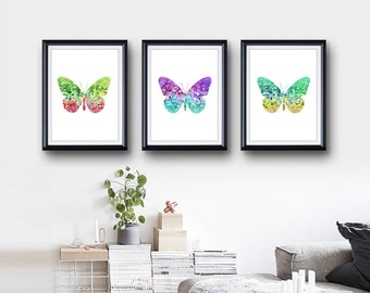 Butterfly Print Set of 3 - Home Living - Butterfly Painting - Butterfly Wall Art - Wall Decor - Home Decor, House Warming Gifts