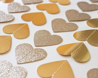 Gold Heart Garland - Valentines Garland - Gold Foil - Gold Glitter - Wedding Garland - Photo backdrop - Paper Hearts - Paper Garland
