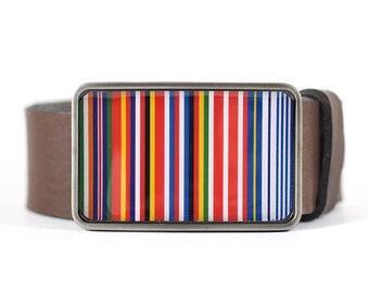 Multicolor belt buckle Striped Belt buckle Barcode EU Flag Belt Buckle Flag Belt Buckle, men's belt buckle