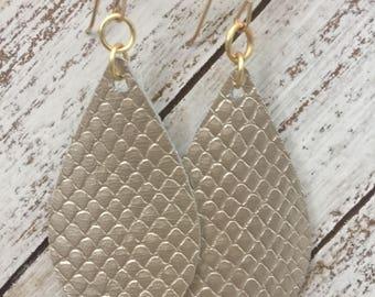 Light Gold Metallic Snake Skin Texture Leather Teardrop Earrings