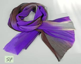 Purple Gray Burgundy Silk Scarf Hand Dyed, Chiffon Crinkle Scarf Wrap, Soft Pleated Scarf, Large scarf every day, Casual scarf, Gift Her