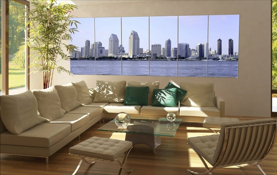 6 panels / boards the city of San Diego Skyline in Southern California, USA. Large panorama panoramic canvas wall art art