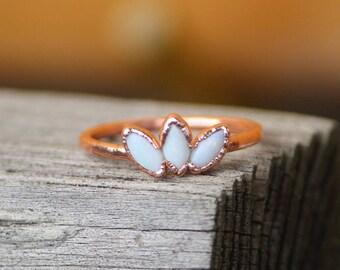 Lotus Flower Opal Ring // Electroformed Copper Jewelry