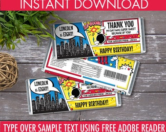 Superhero Candy Bar Wrappers - Superhero Favor, Chocolate Labels, Superhero Birthday Party   Editable Text - Instant Download PDF Printable