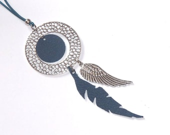 Necklace long silver and blue leather with wing and circle