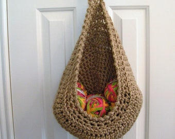 Beige Hanging Crochet Basket - Door Knob Basket - Modern Wall or Door Storage Basket - Nursery Decor - Minimalist Decor - Doorknob Basket