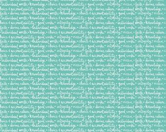 Heart & Soul Values Words in Aqua by Deena Rutter for Riley Blake Designs