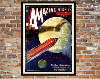 Sci fi Print Poster, Amazing Stories Vintage Magazine Print, Vintage Print, Dime Magazine, Amazing Stories Magazine Sci-Fi Art Item 0188
