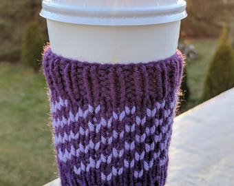 Knit coffee cozy sleeve made to order available in many colors