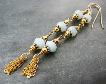 Gemstone Dangle Earrings, Sterling Silver, 22kt Vermeil, Faceted Blue Lace Agate