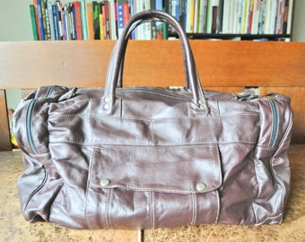Vintage Amazing Patchwork Leather Duffel Bag Travel Luggage Deep Maroon
