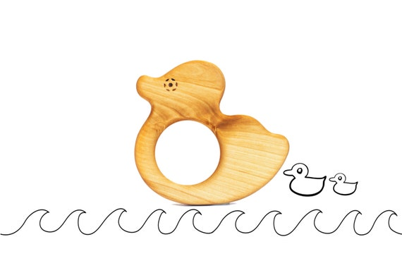 Baby Shower Gift - Natural Teether - Duck Toy Teether - Organic Baby Toy - Baby Christmas Gift