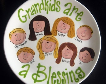 "Handpainted 12"" Platter for Grandparents - Grandma's Angels - great gift for Mother's Day"