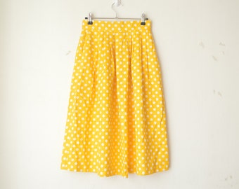 yellow dotted high waist A line midi skirt 60s 70s // S