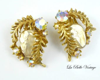 Har Vintage Earrings ~ 1950s Dragon Tooth Rhinestone Clip On