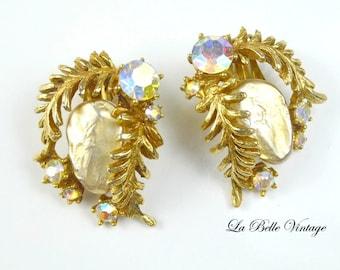 Har Vintage Earrings ~ 1950s Dragon Tooth Rhinestone Clip On
